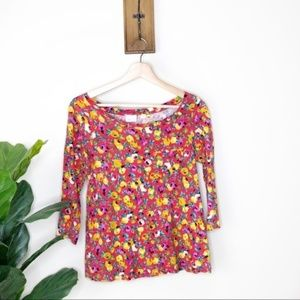Anthropologie Postmark red and yellow floral top